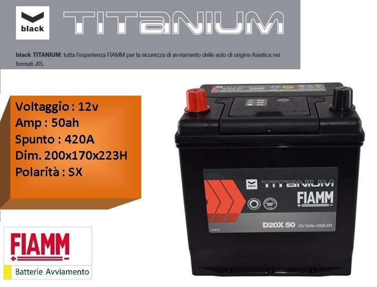 batterie per auto batteria fiamm d20x 50 12v 50ah 420a positivo sx. Black Bedroom Furniture Sets. Home Design Ideas
