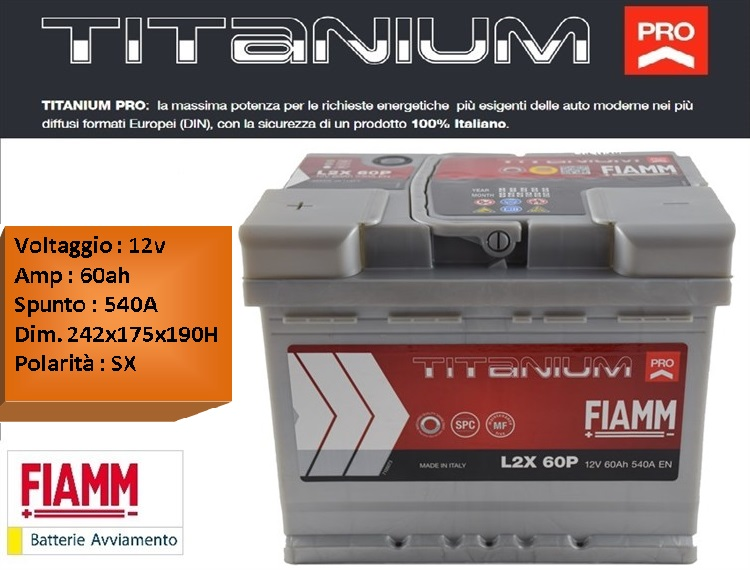 batterie per auto batteria fiamm l2x 60p 12v 60ah 540a positivo sx. Black Bedroom Furniture Sets. Home Design Ideas
